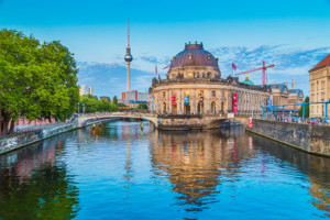 Berlin Museumsinsel with Bode Museum at sunset, Germany